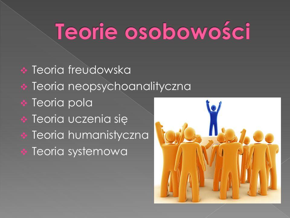 Teoria freudowska Teoria neopsychoanalityczna Teoria pola Teoria uczenia się Teoria humanistyczna Teoria systemowa