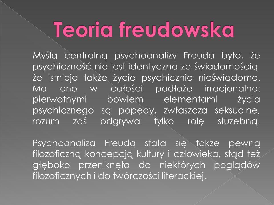 Myślą centralną psychoanalizy Freuda było, że psychiczność nie jest identyczna ze świadomością, że istnieje także życie psychicznie nieświadome.