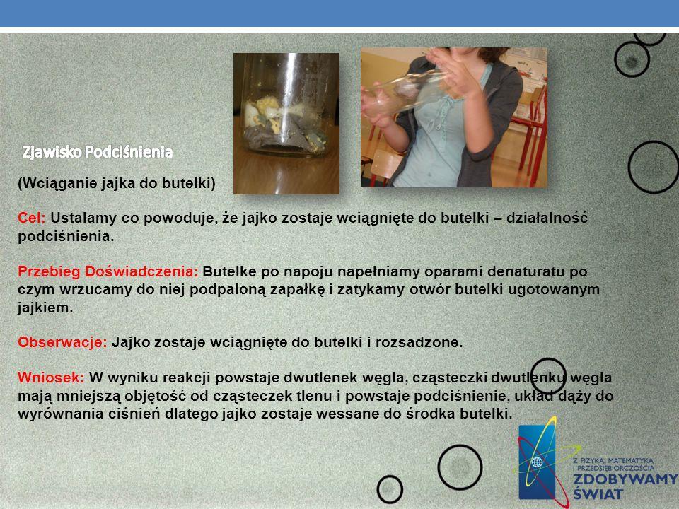(Wciąganie jajka do butelki) Cel: Ustalamy co powoduje, że jajko zostaje wciągnięte do butelki – działalność podciśnienia. Przebieg Doświadczenia: But