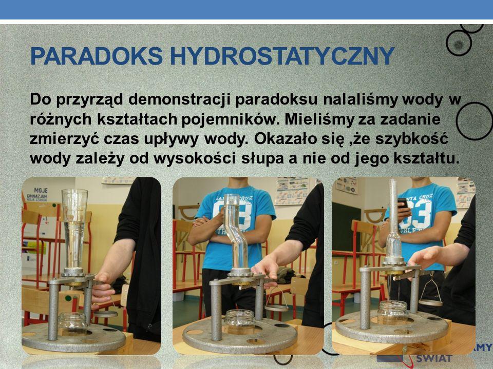 PARADOKS HYDROSTATYCZNY Do przyrząd demonstracji paradoksu nalaliśmy wody w różnych kształtach pojemników. Mieliśmy za zadanie zmierzyć czas upływy wo