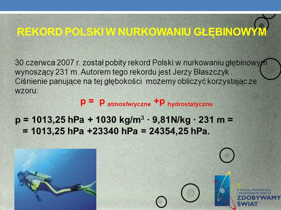 REKORD POLSKI W NURKOWANIU GŁĘBINOWYM 30 czerwca 2007 r. został pobity rekord Polski w nurkowaniu głębinowym wynoszący 231 m. Autorem tego rekordu jes