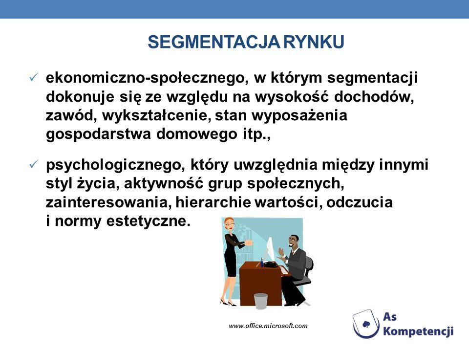SEGMENTACJA RYNKU ekonomiczno-społecznego, w którym segmentacji dokonuje się ze względu na wysokość dochodów, zawód, wykształcenie, stan wyposażenia g