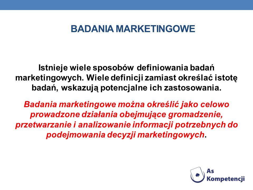 BADANIA MARKETINGOWE Istnieje wiele sposobów definiowania badań marketingowych. Wiele definicji zamiast określać istotę badań, wskazują potencjalne ic