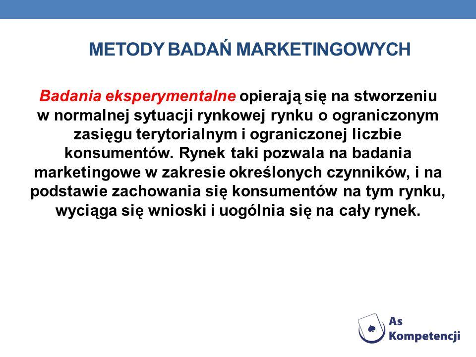 METODY BADAŃ MARKETINGOWYCH Badania eksperymentalne opierają się na stworzeniu w normalnej sytuacji rynkowej rynku o ograniczonym zasięgu terytorialny