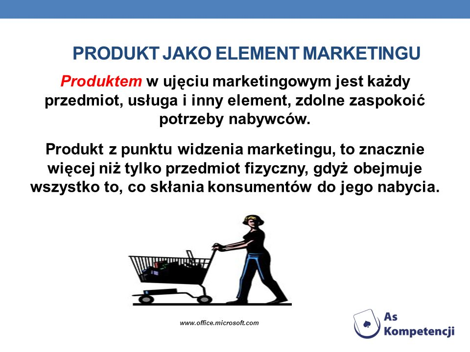PRODUKT JAKO ELEMENT MARKETINGU Produktem w ujęciu marketingowym jest każdy przedmiot, usługa i inny element, zdolne zaspokoić potrzeby nabywców. Prod