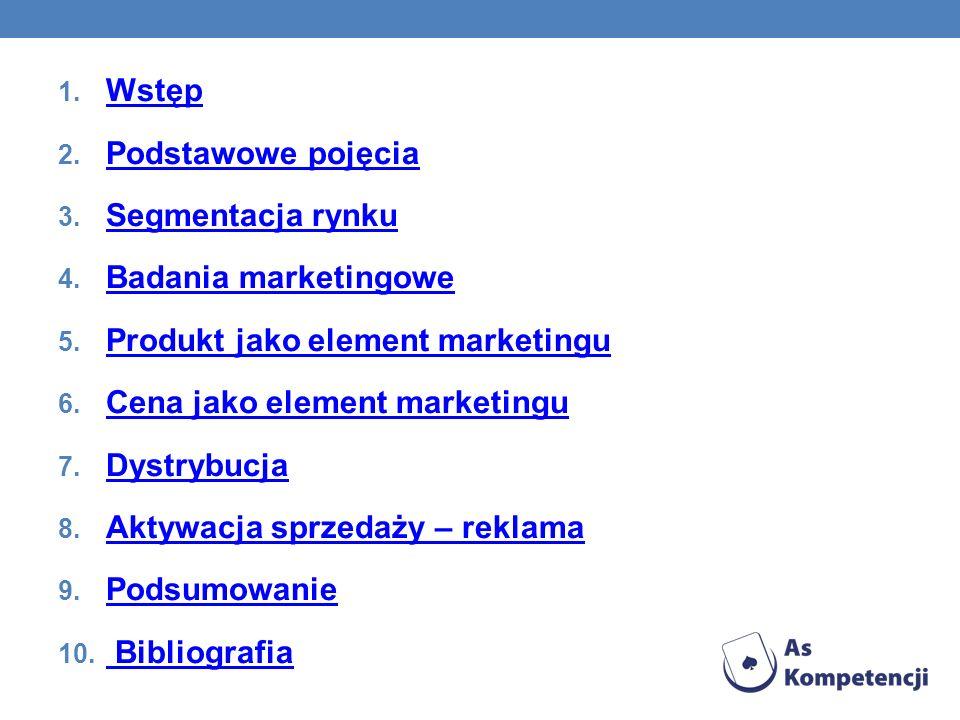1. Wstęp Wstęp 2. Podstawowe pojęcia Podstawowe pojęcia 3. Segmentacja rynku Segmentacja rynku 4. Badania marketingowe Badania marketingowe 5. Produkt