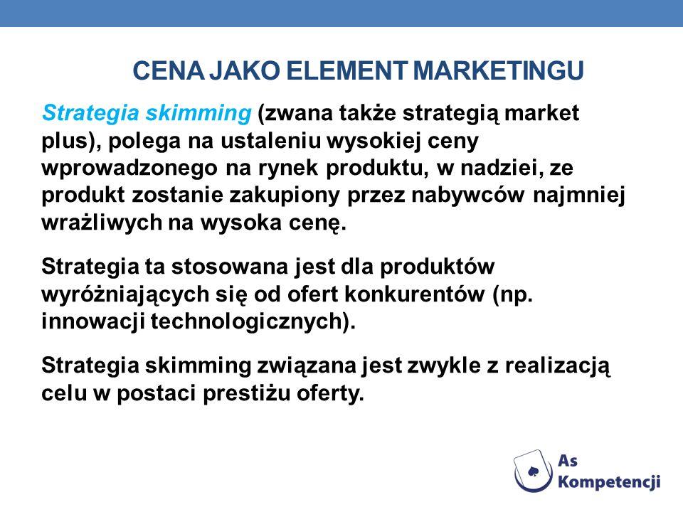 CENA JAKO ELEMENT MARKETINGU Strategia skimming (zwana także strategią market plus), polega na ustaleniu wysokiej ceny wprowadzonego na rynek produktu