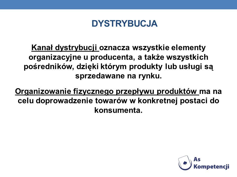 DYSTRYBUCJA Kanał dystrybucji oznacza wszystkie elementy organizacyjne u producenta, a także wszystkich pośredników, dzięki którym produkty lub usługi