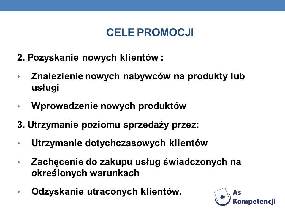 CELE PROMOCJI 2. Pozyskanie nowych klientów : Znalezienie nowych nabywców na produkty lub usługi Wprowadzenie nowych produktów 3. Utrzymanie poziomu s