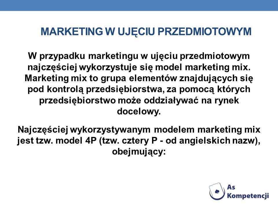 MARKETING W UJĘCIU PRZEDMIOTOWYM W przypadku marketingu w ujęciu przedmiotowym najczęściej wykorzystuje się model marketing mix. Marketing mix to grup