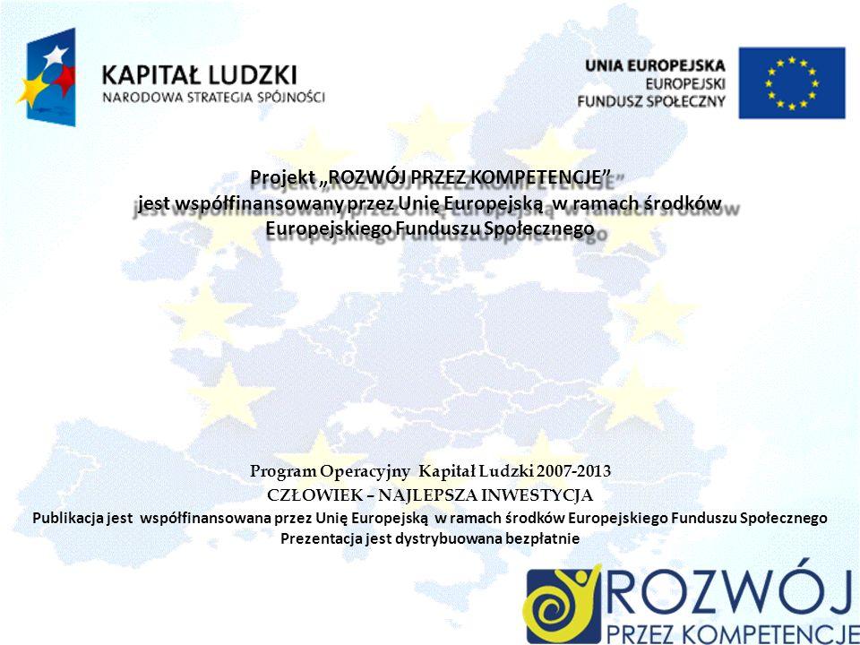 Publikacja jest współfinansowana przez Unię Europejską w ramach środków Europejskiego Funduszu Społecznego Prezentacja jest dystrybuowana bezpłatnie Program Operacyjny Kapitał Ludzki 2007-2013 CZŁOWIEK – NAJLEPSZA INWESTYCJA Projekt ROZWÓJ PRZEZ KOMPETENCJE jest współfinansowany przez Unię Europejską w ramach środków Europejskiego Funduszu Społecznego