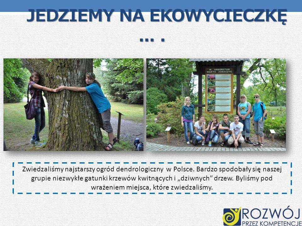 JEDZIEMY NA EKOWYCIECZKĘ.... JEDZIEMY NA EKOWYCIECZKĘ.... Zwiedzaliśmy najstarszy ogród dendrologiczny w Polsce. Bardzo spodobały się naszej grupie ni