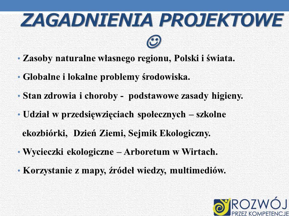 ZAGADNIENIA PROJEKTOWE ZAGADNIENIA PROJEKTOWE Zasoby naturalne własnego regionu, Polski i świata. Globalne i lokalne problemy środowiska. Stan zdrowia