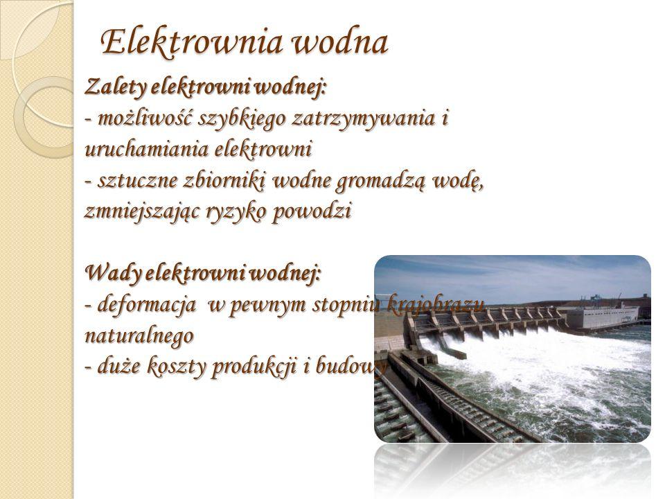 Elektrownia wodna Zalety elektrowni wodnej: - możliwość szybkiego zatrzymywania i uruchamiania elektrowni - sztuczne zbiorniki wodne gromadzą wodę, zmniejszając ryzyko powodzi Wady elektrowni wodnej: - deformacja w pewnym stopniu krajobrazu naturalnego - duże koszty produkcji i budowy