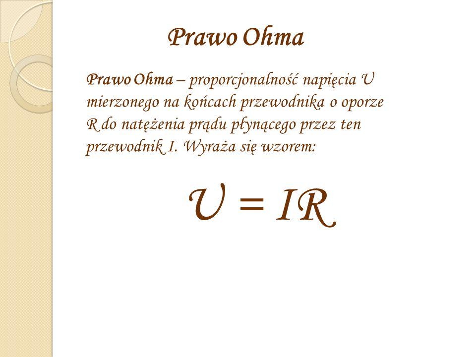 Prawo Ohma Prawo Ohma – proporcjonalność napięcia U mierzonego na końcach przewodnika o oporze R do natężenia prądu płynącego przez ten przewodnik I.