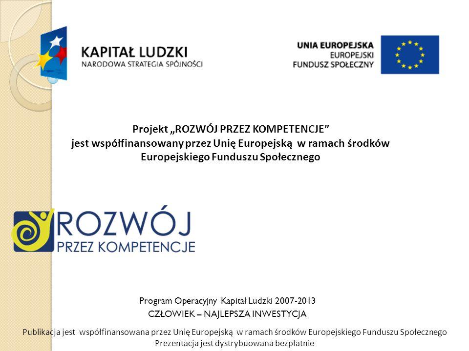 Program Operacyjny Kapitał Ludzki 2007-2013 CZŁOWIEK – NAJLEPSZA INWESTYCJA Publikacja jest współfinansowana przez Unię Europejską w ramach środków Europejskiego Funduszu Społecznego Prezentacja jest dystrybuowana bezpłatnie Projekt ROZWÓJ PRZEZ KOMPETENCJE jest współfinansowany przez Unię Europejską w ramach środków Europejskiego Funduszu Społecznego
