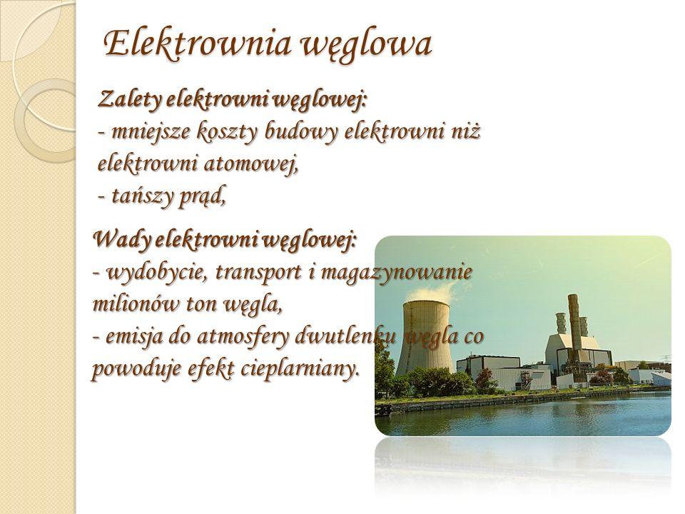 Elektrownia gazowa Zalety elektrowni gazowej: -Budowa elektrowni gazowych trwa krócej i wymaga mniejszych nakładów niż elektrowni węglowych.