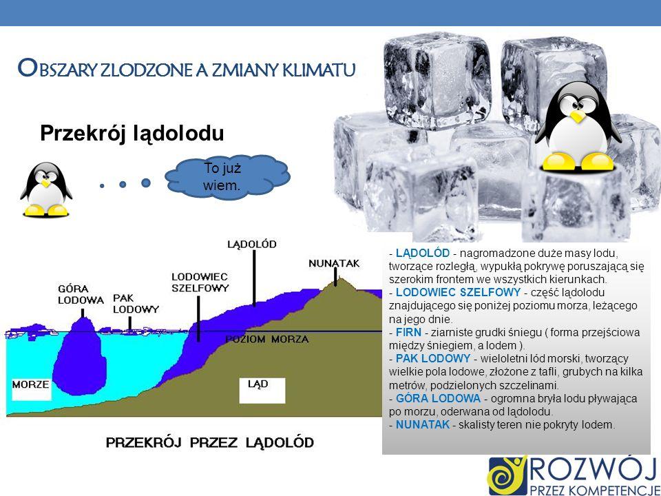 Przekrój lądolodu - LĄDOLÓD - nagromadzone duże masy lodu, tworzące rozległą, wypukłą pokrywę poruszającą się szerokim frontem we wszystkich kierunkac
