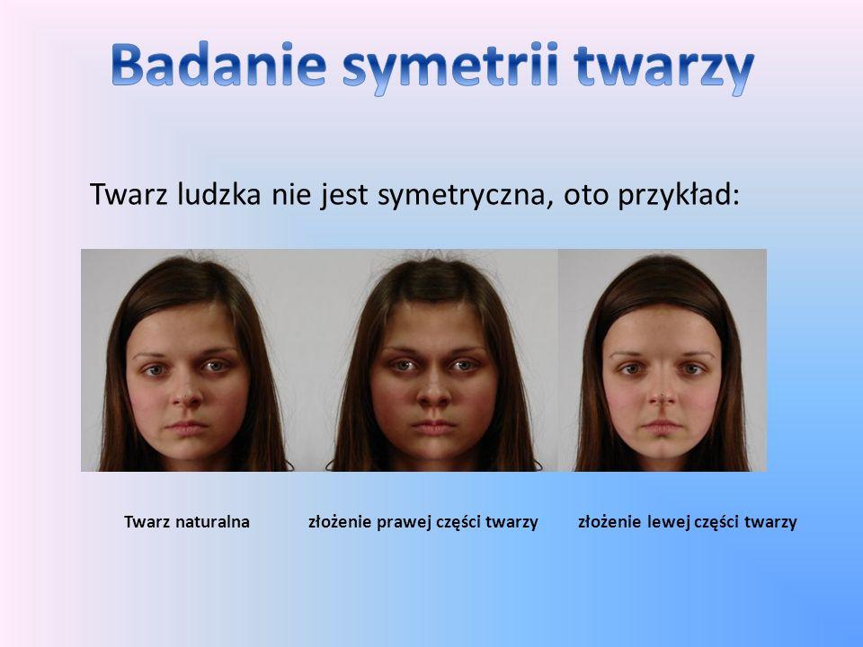 Twarz ludzka nie jest symetryczna, oto przykład: Twarz naturalna złożenie prawej części twarzy złożenie lewej części twarzy