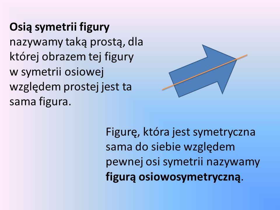 Osią symetrii figury nazywamy taką prostą, dla której obrazem tej figury w symetrii osiowej względem prostej jest ta sama figura. Figurę, która jest s
