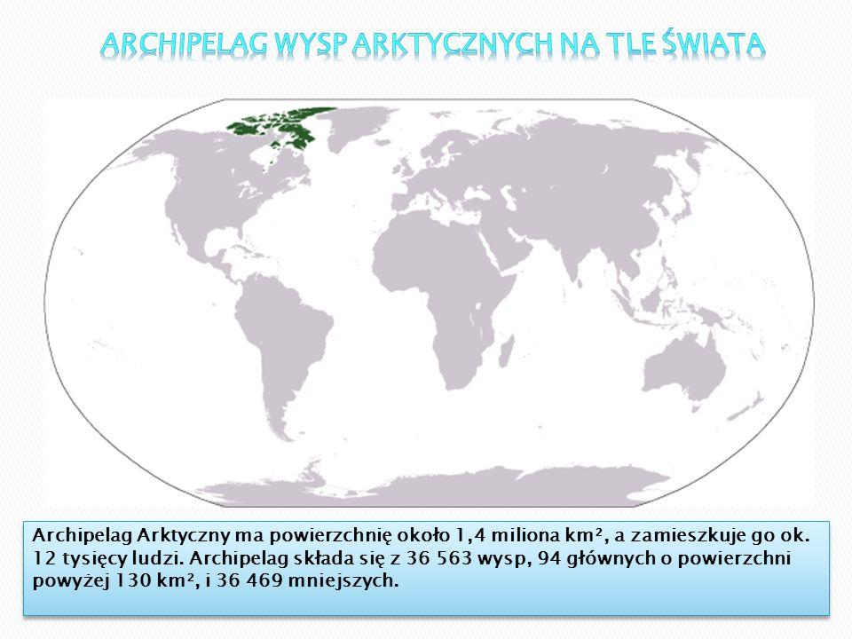 Archipelag Arktyczny ma powierzchnię około 1,4 miliona km², a zamieszkuje go ok. 12 tysięcy ludzi. Archipelag składa się z 36 563 wysp, 94 głównych o