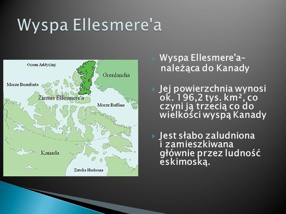 Wyspa Ellesmere'a– należąca do Kanady Jej powierzchnia wynosi ok. 196,2 tys. km², co czyni ją trzecią co do wielkości wyspą Kanady Jest słabo zaludnio