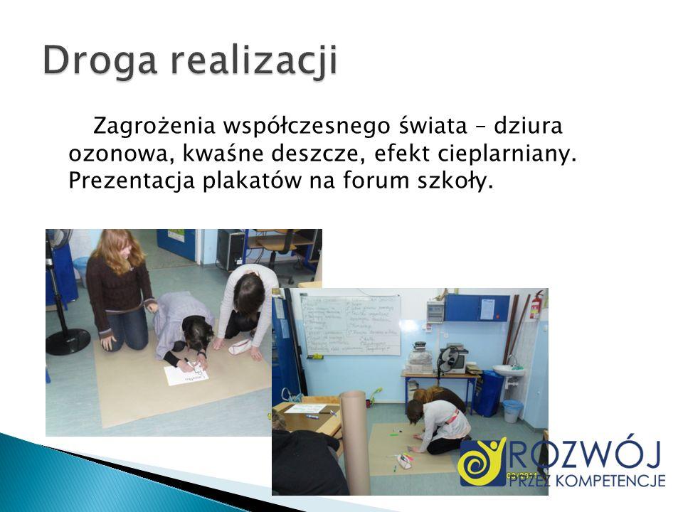Zagrożenia współczesnego świata – dziura ozonowa, kwaśne deszcze, efekt cieplarniany. Prezentacja plakatów na forum szkoły.