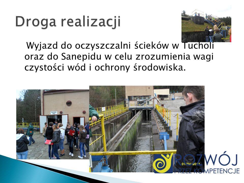 Wyjazd do oczyszczalni ścieków w Tucholi oraz do Sanepidu w celu zrozumienia wagi czystości wód i ochrony środowiska.