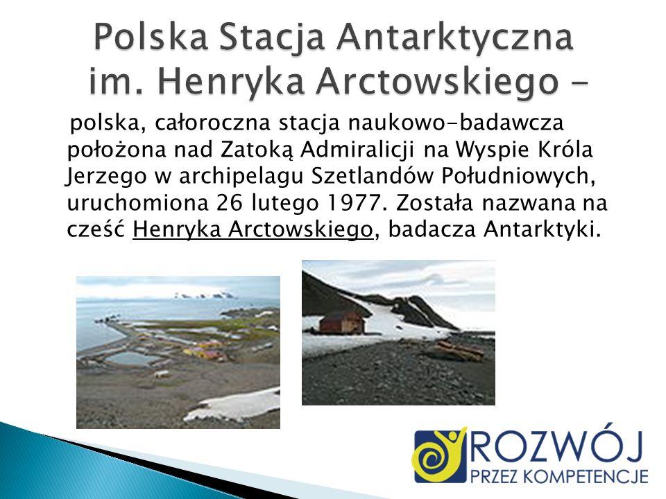 Stacja składa się z 14 budynków położonych między Zatokami Arctowskiego i Półksiężycową a Klifem Wydrzyków.