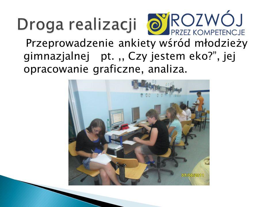 Przeprowadzenie ankiety wśród młodzieży gimnazjalnej pt.,, Czy jestem eko?, jej opracowanie graficzne, analiza.