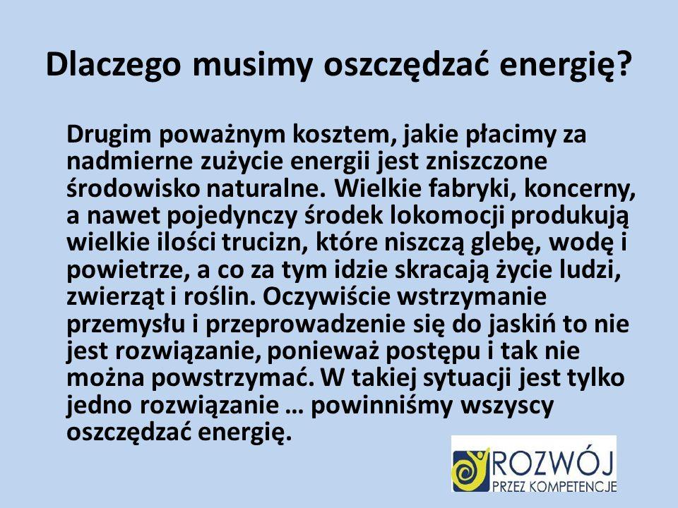 Dlaczego musimy oszczędzać energię? Drugim poważnym kosztem, jakie płacimy za nadmierne zużycie energii jest zniszczone środowisko naturalne. Wielkie
