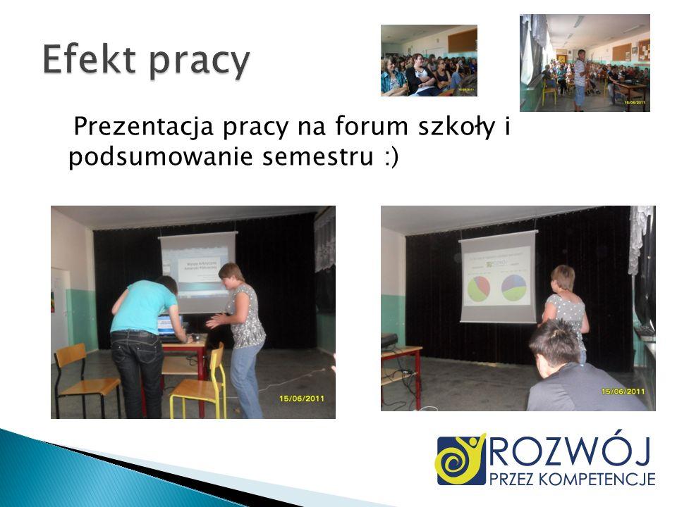 Prezentacja pracy na forum szkoły i podsumowanie semestru :)