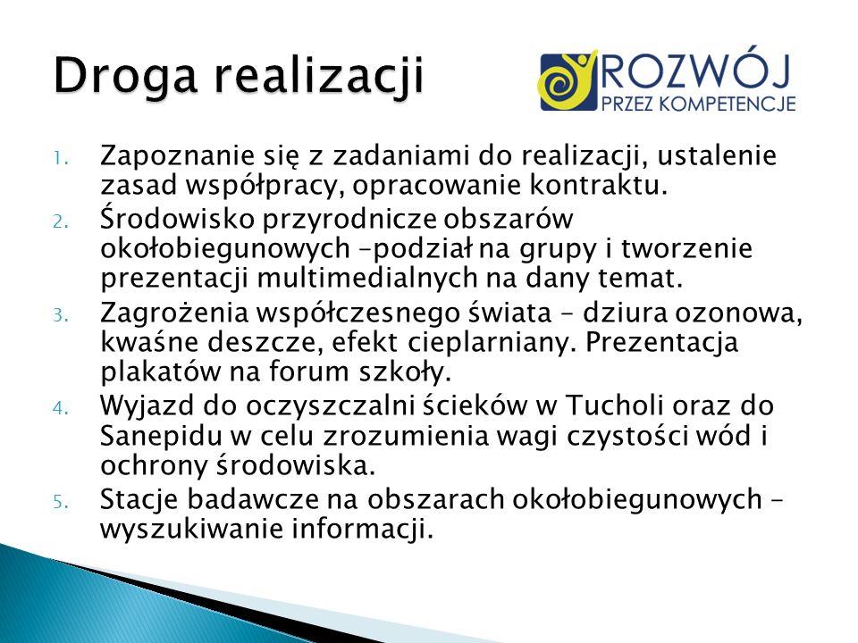 1. Zapoznanie się z zadaniami do realizacji, ustalenie zasad współpracy, opracowanie kontraktu. 2. Środowisko przyrodnicze obszarów okołobiegunowych –