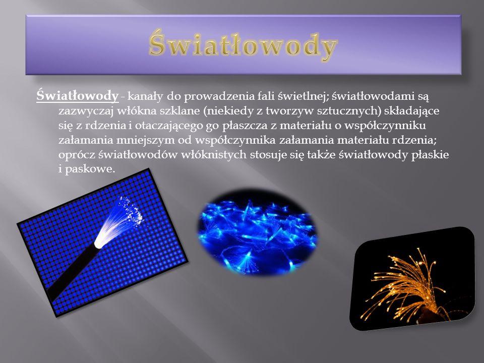 Światłowody - kanały do prowadzenia fali świetlnej; światłowodami są zazwyczaj włókna szklane (niekiedy z tworzyw sztucznych) składające się z rdzenia