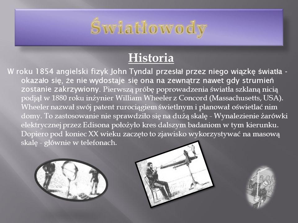 Historia W roku 1854 angielski fizyk John Tyndal przes ł a ł przez niego wi ą zk ę ś wiat ł a - okaza ł o si ę, ż e nie wydostaje si ę ona na zewn ą t