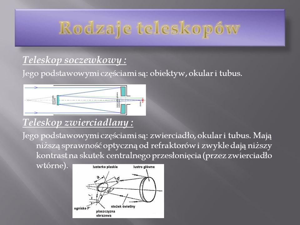 Teleskop soczewkowy : Jego podstawowymi częściami są: obiektyw, okular i tubus. Teleskop zwierciadlany : Jego podstawowymi częściami są: zwierciadło,