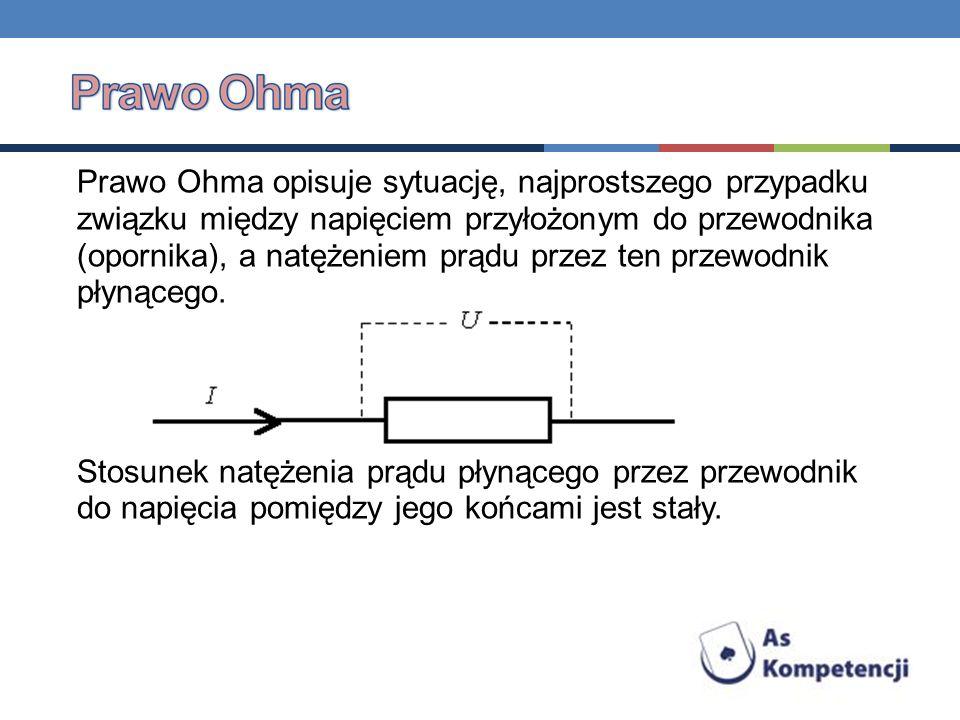 Prawo Ohma opisuje sytuację, najprostszego przypadku związku między napięciem przyłożonym do przewodnika (opornika), a natężeniem prądu przez ten prze