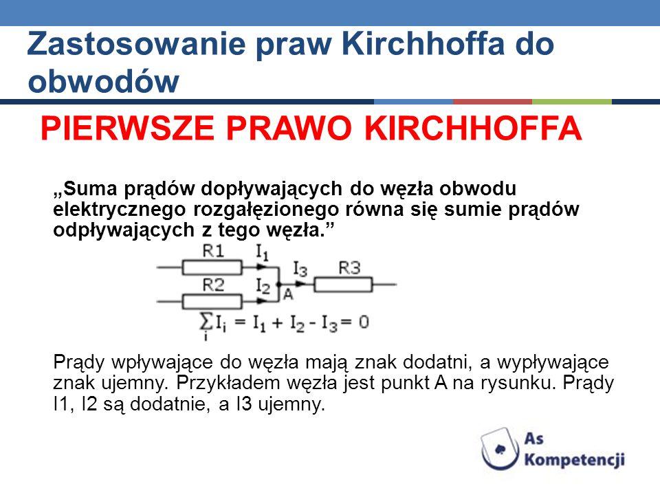 PIERWSZE PRAWO KIRCHHOFFA Suma prądów dopływających do węzła obwodu elektrycznego rozgałęzionego równa się sumie prądów odpływających z tego węzła. Pr