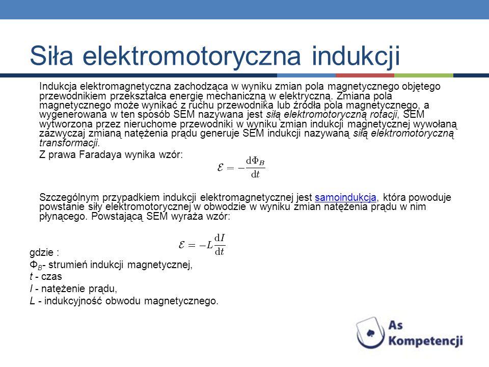 Indukcja elektromagnetyczna zachodząca w wyniku zmian pola magnetycznego objętego przewodnikiem przekształca energię mechaniczną w elektryczną. Zmiana