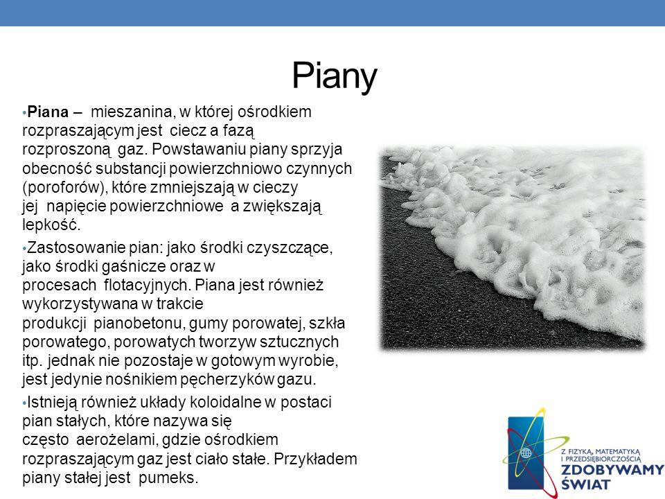 Piany Piana – mieszanina, w której ośrodkiem rozpraszającym jest ciecz a fazą rozproszoną gaz.