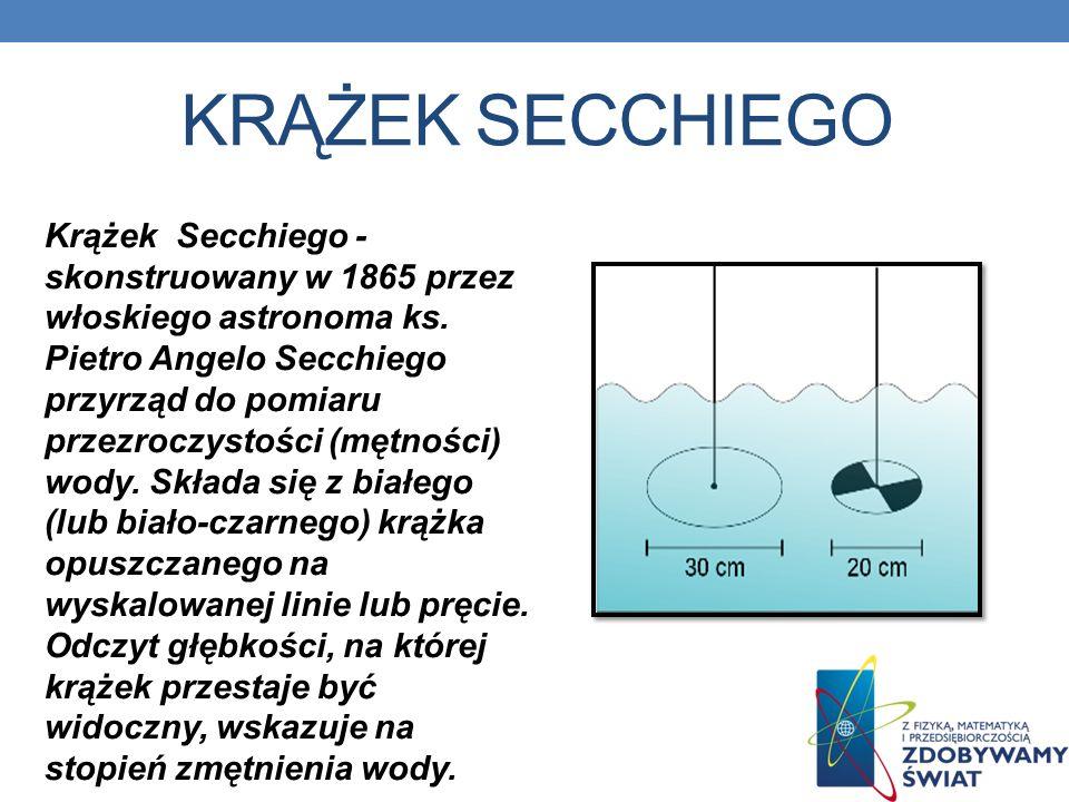 KRĄŻEK SECCHIEGO Krążek Secchiego - skonstruowany w 1865 przez włoskiego astronoma ks.