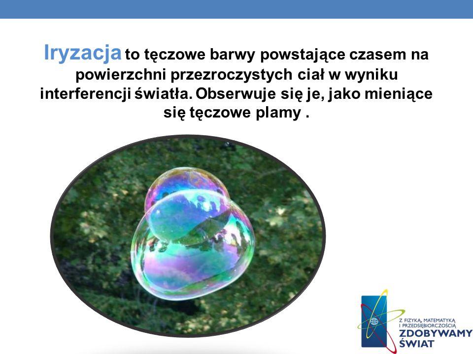 Iryzacja to tęczowe barwy powstające czasem na powierzchni przezroczystych ciał w wyniku interferencji światła.