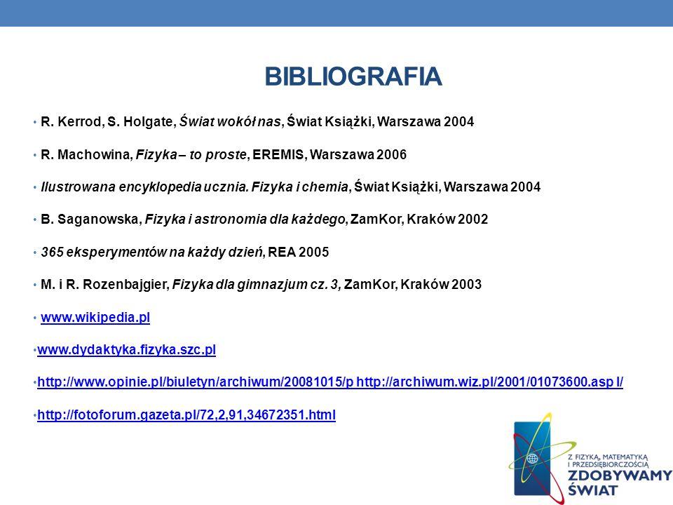 BIBLIOGRAFIA R.Kerrod, S. Holgate, Świat wokół nas, Świat Książki, Warszawa 2004 R.