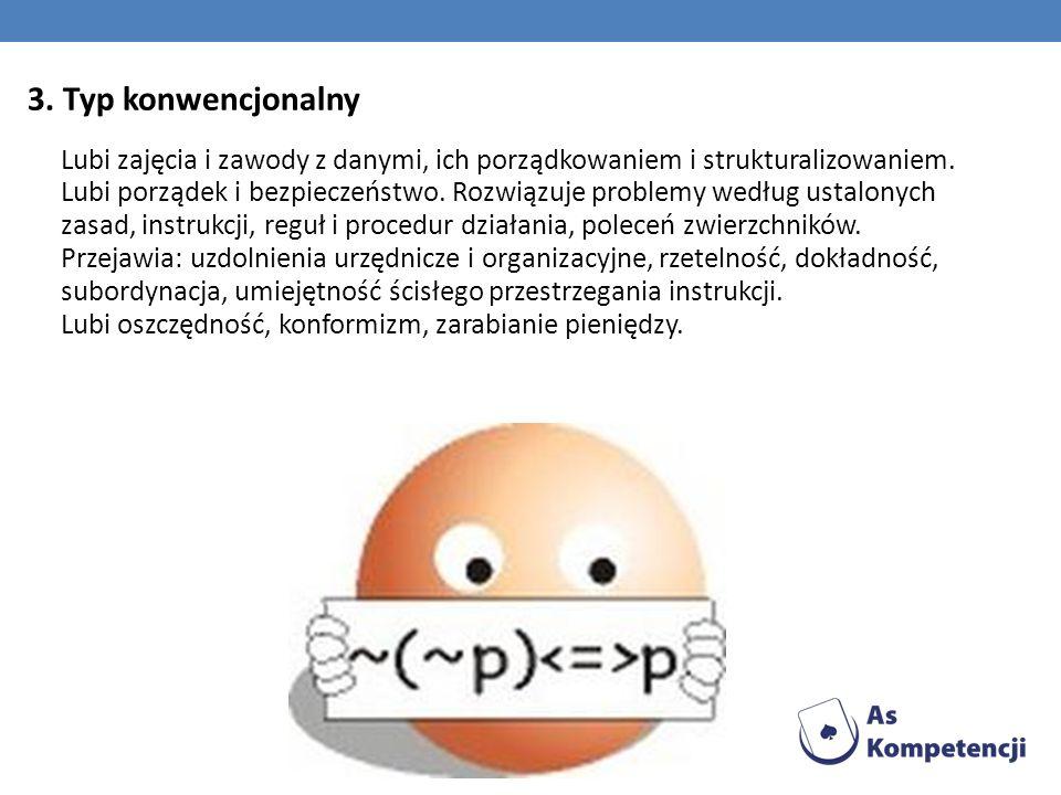 3. Typ konwencjonalny Lubi zajęcia i zawody z danymi, ich porządkowaniem i strukturalizowaniem. Lubi porządek i bezpieczeństwo. Rozwiązuje problemy we