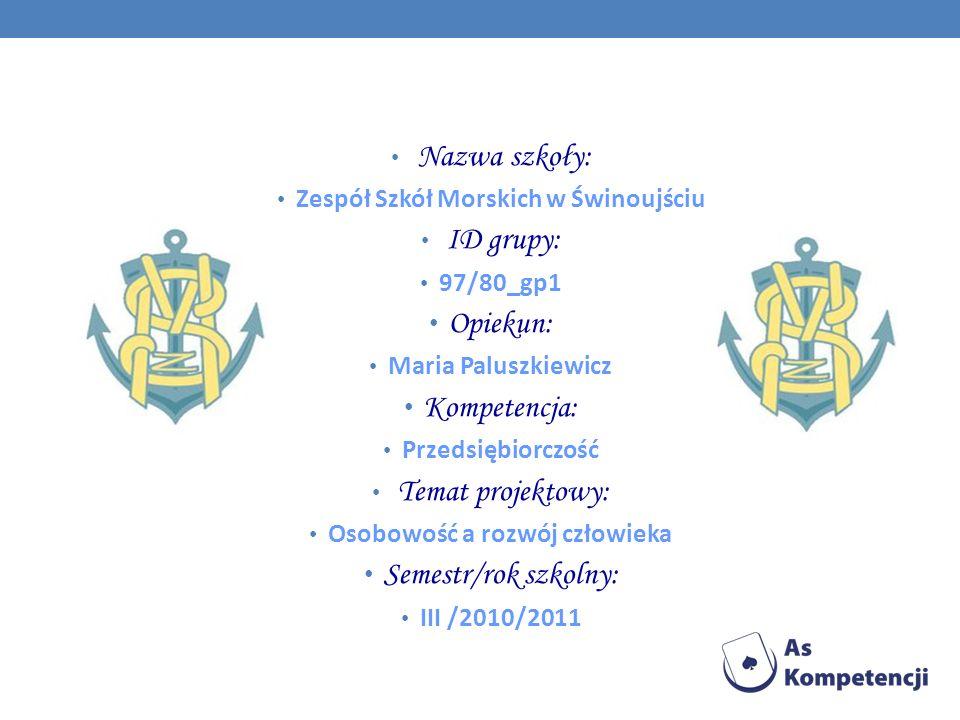 Nazwa szkoły: Zespół Szkół Morskich w Świnoujściu ID grupy: 97/80_gp1 Opiekun: Maria Paluszkiewicz Kompetencja: Przedsiębiorczość Temat projektowy: Osobowość a rozwój człowieka Semestr/rok szkolny: III /2010/2011