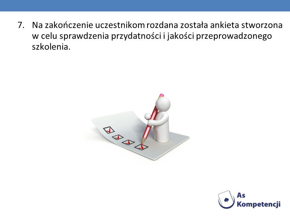 7.Na zakończenie uczestnikom rozdana została ankieta stworzona w celu sprawdzenia przydatności i jakości przeprowadzonego szkolenia.