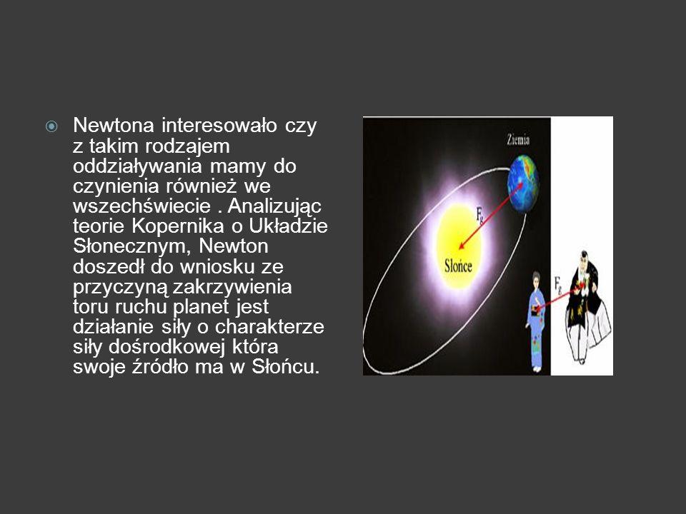 Newtona interesowało czy z takim rodzajem oddziaływania mamy do czynienia również we wszechświecie. Analizując teorie Kopernika o Układzie Słonecznym,