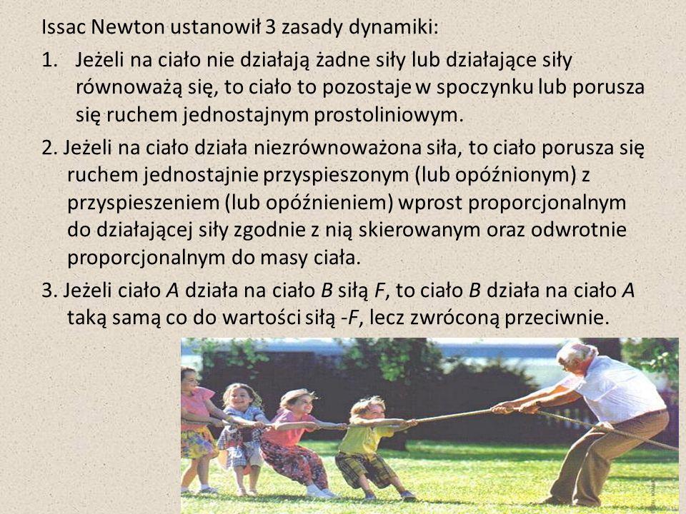 Newtona znamy jako twórcę trzech zasad dynamiki opisujących przyczynę stanów kinematycznych jakim mogą sie znajdować się ciała oraz wzajemnie oddziaływań między nimi.