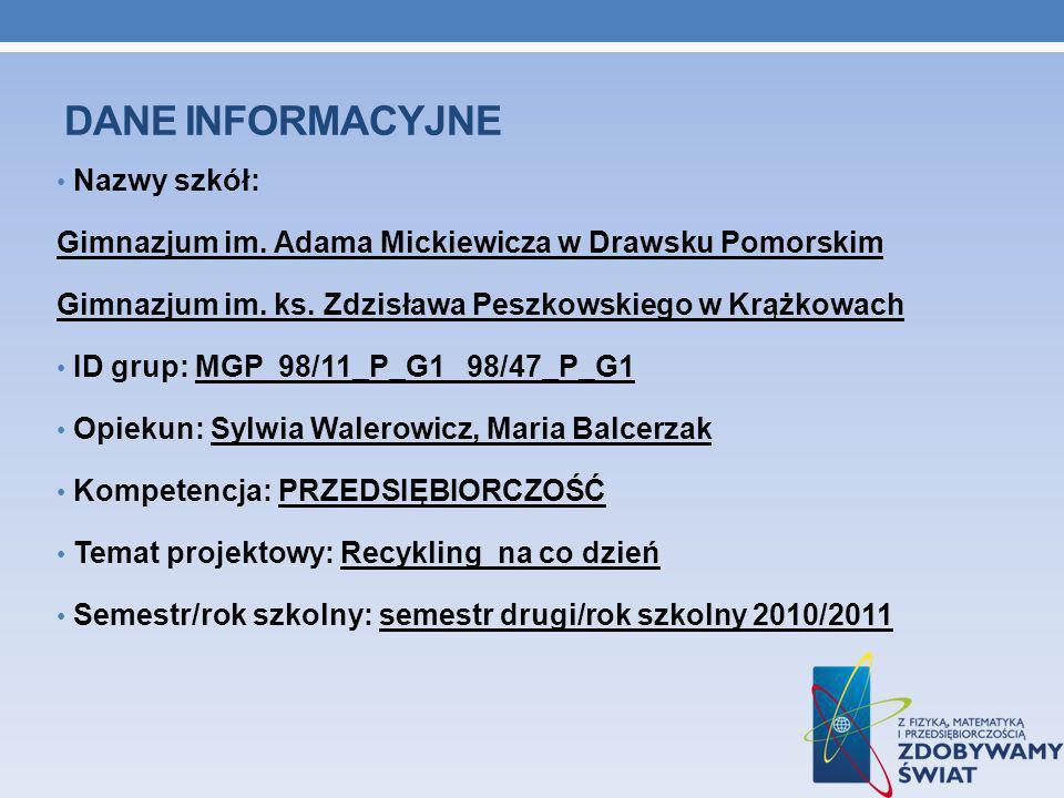 DANE INFORMACYJNE Nazwy szkół: Gimnazjum im. Adama Mickiewicza w Drawsku Pomorskim Gimnazjum im.