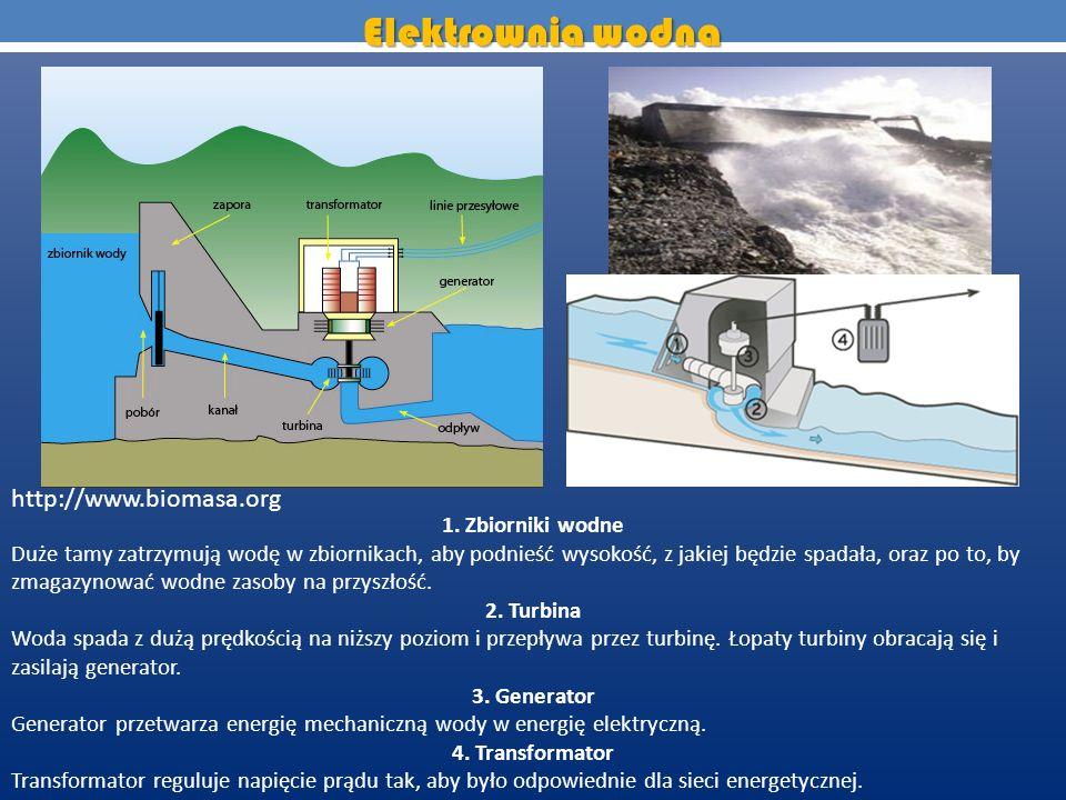 1. Zbiorniki wodne Duże tamy zatrzymują wodę w zbiornikach, aby podnieść wysokość, z jakiej będzie spadała, oraz po to, by zmagazynować wodne zasoby n